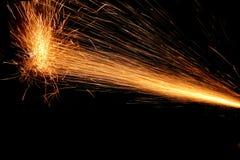 火火花在黑色的 免版税库存图片