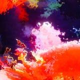 火灼烧的火焰,红色云彩背景 免版税图库摄影