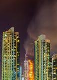 火灾事故在除夕的迪拜 库存照片