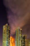火灾事故在除夕的迪拜 库存图片