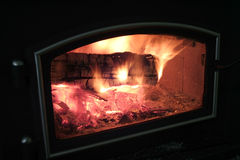火炉木头 库存照片