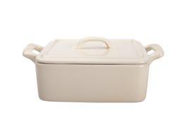 火炉的白色陶瓷罐 免版税库存图片
