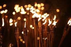 火炬在晚上 库存照片