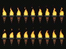火炬火动画 灼烧的灯号、火焰在火炬和大烛台赋予生命的圈序列隔绝了传染媒介集合 向量例证