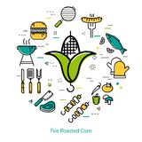 火烤玉米-圆的概念 免版税库存图片