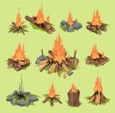 火热射击火焰或木柴室外旅行篝火传染媒介被射击的火焰状壁炉和易燃的营火例证 库存图片