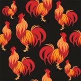 火热的雄鸡无缝的样式 库存图片