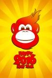 2016年火热的猴子卡片,新年好 库存图片