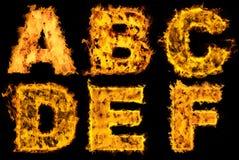 火热被设置的字母表 免版税库存照片