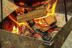火焰冠在灼烧的木头的 免版税图库摄影