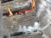 火焰和烟 库存照片