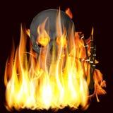 火焰和头骨 库存照片