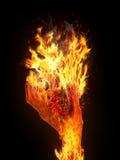 火焰在手边 库存照片