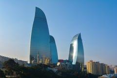 火焰塔,巴库阿塞拜疆 免版税库存图片