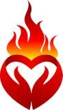 火焰心脏商标 向量例证