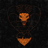 从火焰心脏的Realisitc眼镜蛇在难看的东西背景 符号被绘的传染媒介例证 免版税库存图片