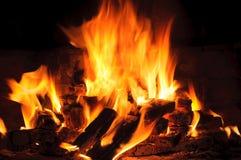 火焰特写镜头在壁炉、火焰和灼烧的森林 免版税库存照片