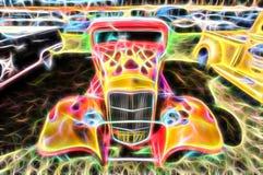 火焰状旧车改装的高速马力汽车 库存图片