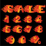 火焰状编号、百分比符号和字销售额 库存图片