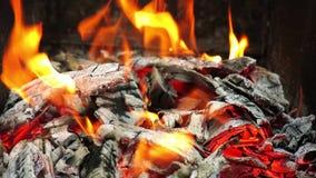 火的一个接近的看法 注册火 灼烧的火壁炉 股票录像