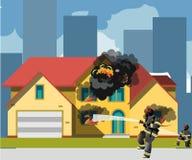 火的家与消防员 库存例证