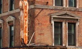 火的火焰毁坏的旅馆在曼哈顿 免版税库存图片