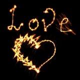 火的爱心脏 库存图片