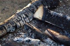 从火的被烧焦的木头地球、灰和炭烬上 免版税图库摄影