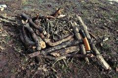 火种和手看见了在层状木柴自动送料的火顶部-准备好颠倒的火火葬用的柴堆烧 库存图片