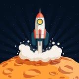 火箭队从月亮的表面离开 向量例证