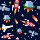 火箭队卫星星无缝的样式 图库摄影