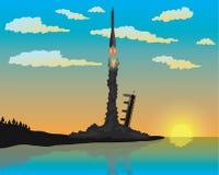 火箭队发射剪影 免版税库存照片