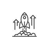 火箭队发射线象,概述传染媒介标志,在白色隔绝的线性图表 库存照片