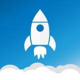火箭队和白色云彩,在平的样式的圈子象,概念性  库存例证