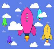 火箭队和白色云彩,在平的样式的象 免版税库存图片