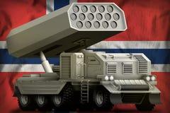 火箭队火炮,在挪威国旗背景的导弹发射装置 3d例证 免版税库存图片
