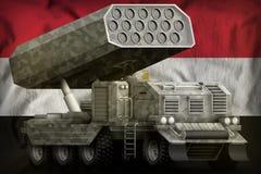 火箭队火炮,有灰色伪装的导弹发射装置在埃及国旗背景 3d?? 向量例证