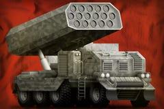 火箭队火炮,有灰色伪装的导弹发射装置在瑞士国旗背景 3d例证 皇族释放例证