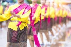 火箭队节日,开始泰国东北地方的文化雨季,泰国跳舞 免版税图库摄影