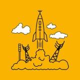 火箭,传染媒介例证的开始在云彩的 免版税图库摄影