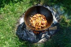 火罐 肉饭 库存图片