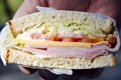 火腿和干酪三明治 库存照片