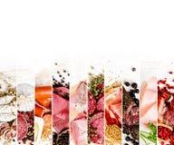 火腿和蒜味咸腊肠混合 库存照片