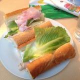 火腿咸味干乳酪和鲜美莴苣的长方形宝石 库存照片