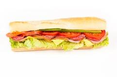 火腿蒜味咸腊肠三明治蕃茄 免版税库存照片