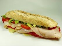 火腿蒜味咸腊肠三明治 免版税图库摄影