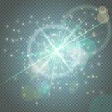 火花闪烁发光,星破裂了在蓝色透明背景和透镜火光隔绝的微粒焕发 展示,音乐会 向量例证