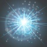 火花闪烁发光-星破裂了与在透明背景隔绝的透镜火光的焕发 光线影响装饰为 向量例证