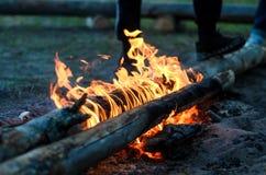 火葬用的柴堆的火焰 图库摄影