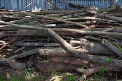 火葬用的柴堆在庭院里 免版税图库摄影
